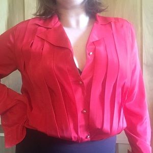 Bright Red Vintage Pleated French Cuff Blouse sz L